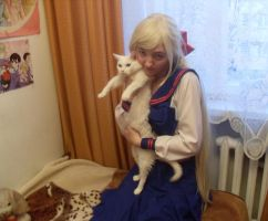 Minako with her cat by Wiki-chan90