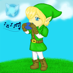 LoZ: Link playing the Ocarina by hkepoetry