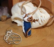 Pied Ball Python on Blue Crystal Agate Pendant by NadilynBeato