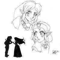 LoZ- Then and now -lineart by Noe-Izumi