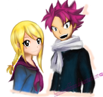 Lucy and Natsu .. school request colouring .. by felixne