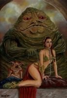 Leia in Jabba's hands by Vinkerlid