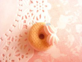 Giant Cream Donut charm by MintberryCreations
