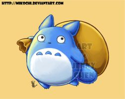 Blue Totoro and his goodies by Mikochi