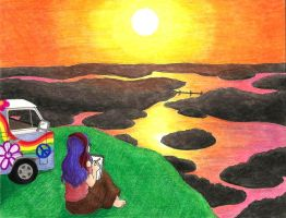 Drawing At Sunset by the-punk-hippie