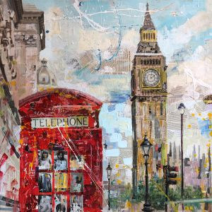 Big Ben and the telephone. oil on canvas, collage. by Shatilov