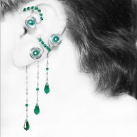 Emerald Steampunk Left Ear Wrap and Cuff by YouniquelyChic