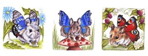 Three Butterfly Mice by ladystonehawk