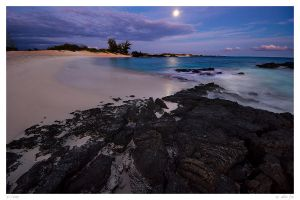 The Moon Sets Over Makalawena by wafox