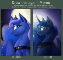 Draw this again meme, Luna by Japandragon