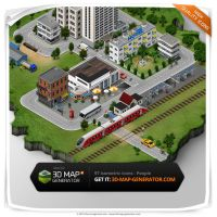 Isometric icons People - City and train station by templay-team