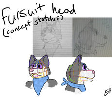 Fursuit Head Sketches by Selena112