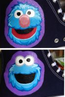 Cookie Monster and grover hi top by Wilson250380