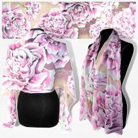 Silk scarf ROSES and GILLYFLOWERS hand painted by MinkuLul