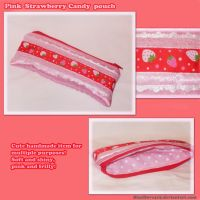 Pink Strawberry Candy pouch by BlueDove415