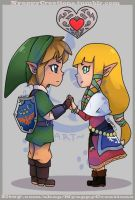 Link and Zelda by NyappyCreations