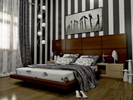 bedroom with stripes by aspa1984
