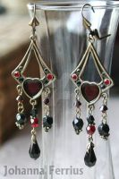Ornate Brass Red and Black Romanian earrings by Johanna-Ferrius