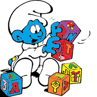 Baby Smurf plays with blocks. by Smurfette123