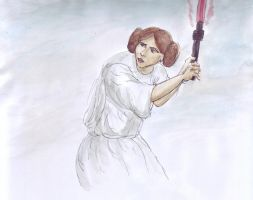Princess Leia with a Lightsabre 2 by fire-camel