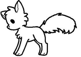 Chibi cat/fox lineart by Galactichowl