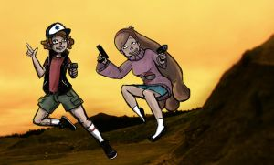 Dipper and Mabel by Gouta