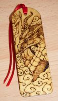 Pyrography Dragon Bookmark by BlueMidna