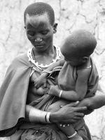 Masai mother, black and white photo by FineFien