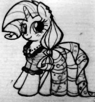 Rarity in Gala Dress Sketch by giantsquidie