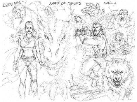 Sketch Game of Thrones - Double page! by MARCIOABREU7