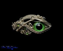 Green Dragon Eye - Silver Leaf Victorian Barrette by LadyPirotessa