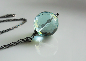 Aqua Blue Orb Necklace 2 by mrskupe