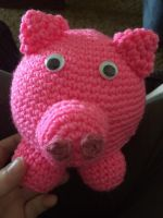 Crocheted Pig by CrackFaerie