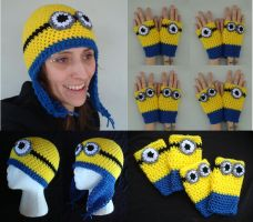 Despicable Me Minions Beanie and Handwarmers by RebelATS