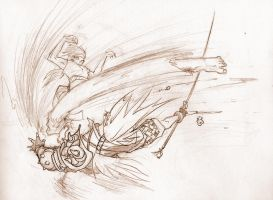 Mantis Kick - unused rough by Inkthinker