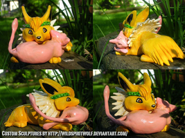 Jolteon x Mew Cuddle Sculpture by WildSpiritWolf