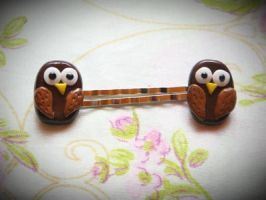 Owl bobbypins by Green-Romance