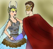 Briar Rose and the Prince at the costume ball by Selinelle