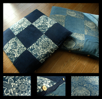 indigo floor cushions by nyankorita