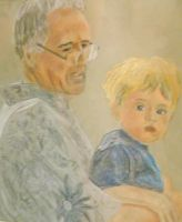 Dad and Aidan on the Lawn Mower by someofmywork