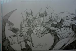 Deadpool vs Batman quick commission by steelcitycustomart
