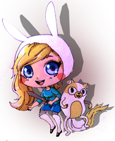 Fionna and Cake Chibis by Mofu-Chan