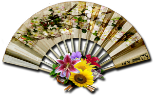 Vintage decorative fan png stock by DoloresMinette