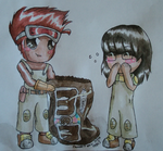 Stan and Koji with MnMs by Tacotits