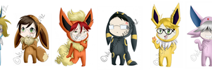 Shinigami Eeveelution Chibis by Illogicat