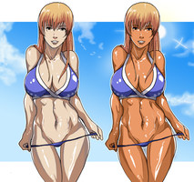Kasumi, before and after 2-weeks vacation by TirNaNogIndustries