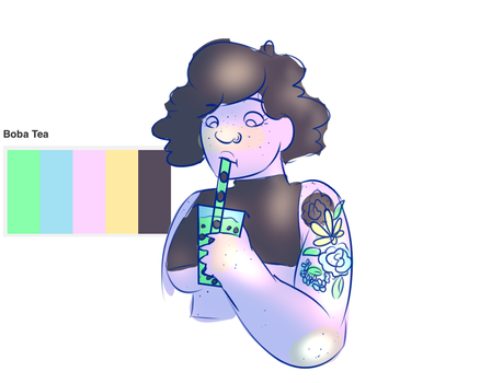 smol Squish Sara drinking Boba (colour pallet) by Timtams03