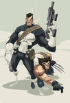 Punisher and Wolverine by chopstyx