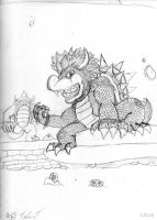 Bowser In Ruins by kingpoopy