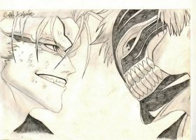 Bleach Ichigo vs Grimjaw by fiend525